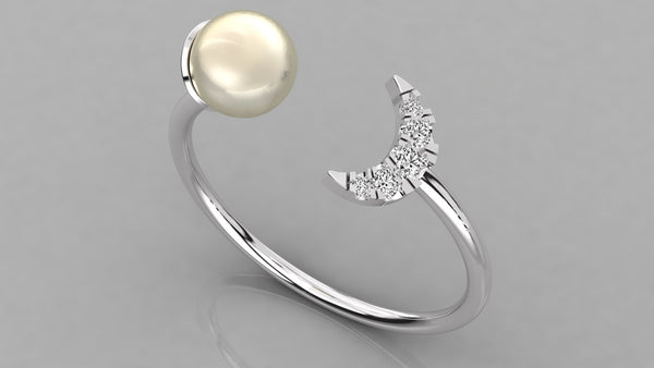 Gold Moon Diamond and Pearl Open Top Ring