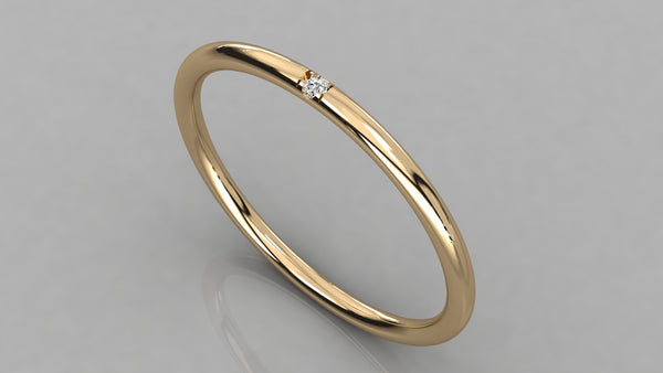 Single Diamond Gold Band