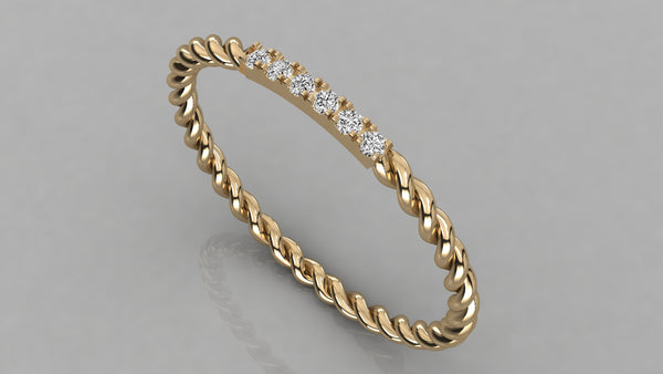 Gold Twist Diamond Ring