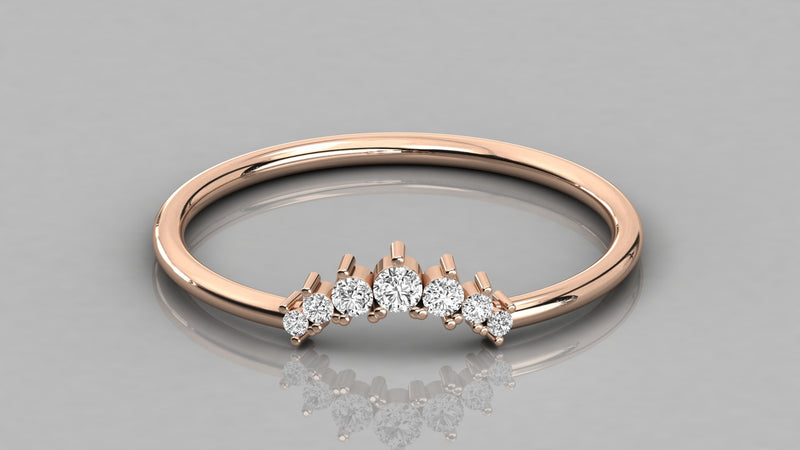 Gold Curved Diamond Ring