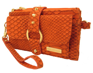 Kash & Karee Purse -Orange Matte Sneak