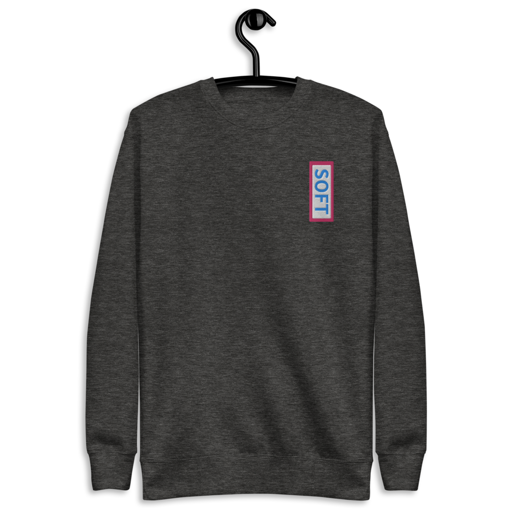 Grey gray fleece pullover from Soft Shop with vertical Soft blue lettering in red box