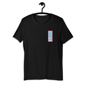 Black Shirt from Soft Shop with vertical Soft teal lettering in pink box