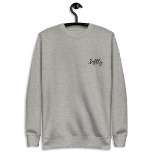 Gray Grey long sleeve fleece pullover sweater with black embroidered fancy cursive text SOFTLY