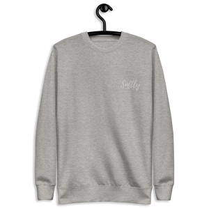 Gray Grey long sleeve fleece pullover sweater with white embroidered fancy cursive text SOFTLY