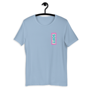 Light Blue Shirt from Soft Shop with vertical Soft teal lettering in pink box