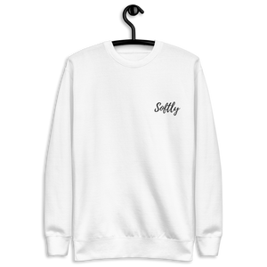 White long sleeve fleece pullover sweater with black embroidered fancy cursive text SOFTLY