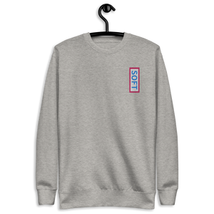 Light gray grey fleece pullover from Soft Shop with vertical Soft blue lettering in red box