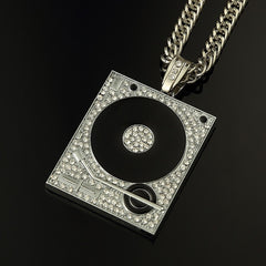Phonograph Big Pendant Necklace For Men Jewelry Hiphop Chain Gold Silver Color Mens Jewellery Hip Hop Style Necklaces