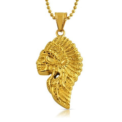Indian Skull Hip Hop Pendant Gold Steel