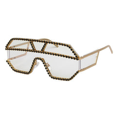 Rhinestone Oversized One Lens Rhinestone Sunglasses Men Women Crystal Geometric Patterns Sun Glasses UV400