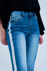 Skinny Jeans With White Side Stripe