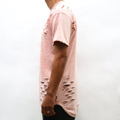 DISTRESSED SCALLOP TEE- PEACH