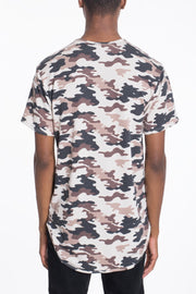 CAMO SCALLOP TEE-BROWN