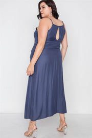 Plus Size Navy Cami Floral Embroidery Boho Maxi Dress