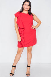 Plus Size Trim Frill Sleeve Mini Dress