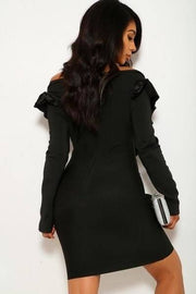 Long Sleeve, Off The Shoulder, V-cut Neckline Dress