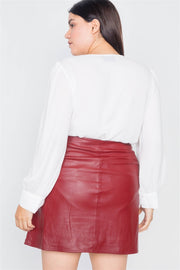 Plus Size Cherry Slit Silver Grommet Mini Leather Skirt