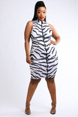 Tiger Printed Sleeveless Dress