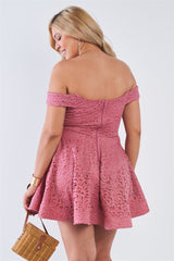 Plus Size Floral Lace V-neck Off The Shoulder Mini Flare Dress