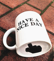 Creative Have a Nice Day Coffee Mug Middle Finger Funny Cup for Coffee