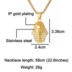 Ancient Egyptian Bling Iced Out Pharaoh King Pendant Necklace