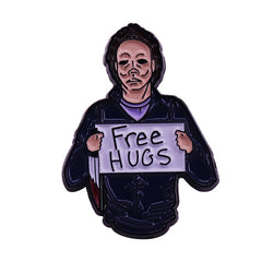 Free hugs from Michael Myers badge fun sarcastic novelty Halloween addition