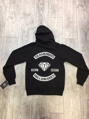 DIAMONDS AND MILLIONAIRES BACKPATCH ZIP HOODIE