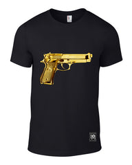 GOLD GUN LOADED MENS TSHIRTS