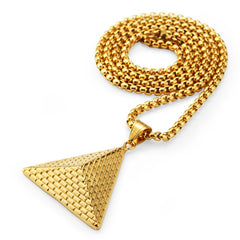 Golden Bling Hip Hop Pyramid King of Egypt Pendants Necklaces Jewelry Men Women Hip Hop Charm Steel Chains Chokers
