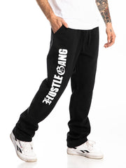 HUSTLE GANG JOGGERS  BLACK/WHT