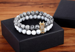 Gray Natural Stone & White Howlite Elasticity Rope Strand Beads Bracelets For Unisex Jewelry Gift
