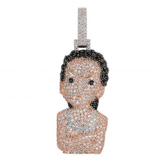 Iced Out The Boondocks Pendant CZ Necklace Chain Mens/Women Micro Paved Hip Hop Gold Silver Color Bling Charm Chains Jewelry