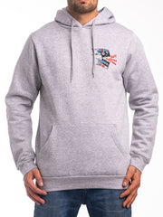THE ACE UNION JACK PULLOVER HOODIE IN HEATHER GREY