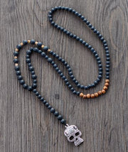 Men Gothic Necklace Matte Black Onyx Wood Skull