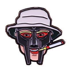 Metal face S. Thompson pin new MF Doom inspired hip hop fans accessory