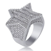 New Iced Out Super Star Rings For Men/Women Micro Paved Gold Silver Color Finish Cubic Zircon Charm Hip Hop Jewelry Ring Gifts