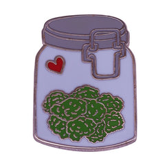 Nug jar weed pin unique illustrated flair jewelry