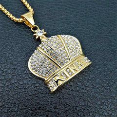 Orthodox Church Crown Cross Pendants Necklaces For Women/Men Gold Color Stainless Steel Chain Iced Out Bling King Jewelry