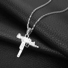 UZI GUN Shape Pendant Necklace Jewelry