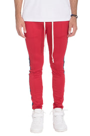 RAINBOW TAPED TRACK PANTS- RED