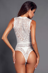 Sexy White V Neck Hollow-out Lace Bodysuit