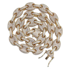 Cocaine & Caviar Solid Gold Silver Color Cubic Zircon Link Necklace Bling Men's Hip hop Jewelry Copper Iced link Chain For Gift