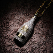Cocaine & Caviar  Big Wine Bottle Necklaces Full Cubic Zircon Iced Out