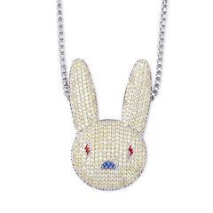 COCAINE & CAVIAR  Miami Bad Bunny Pendant Necklace Iced Out AAA Cubic Zirconia Bling Men's Women Hip hop Rock Jewelry