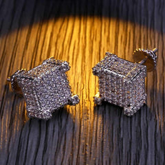 Cocaine & Caviar New Style Fashion Gold/Silver Color All Iced Out Micro Pave CZ Stone Square Stud Earring Hip Hop Rock Jewelry Earrings