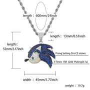 COCAINE & CAVIAR  SonictheHedgehog Series Pendant Necklace Iced Out Chain Bling Cubic Zircon Personality Hip Hop Rock Jewelry For Man