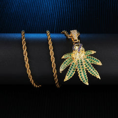 Iced Out Smoking Skull Leaf Pendant&Necklaces Copper Cubic Zircon Necklace For Men Hip Hop Jewelry