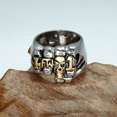 Punk Rock Men Cross Rings Stainless Steel Viking Retro Grim Skull Skeleton Fingers Jewelry