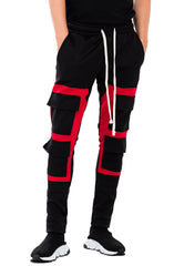 SQAURE BLOCK TRACK PANT- RED